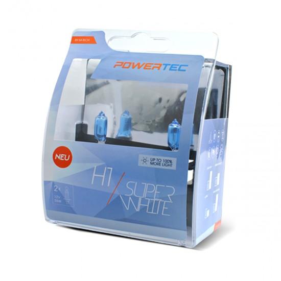 Auto sijalica Powertec SuperWhite H1  12V  /cena za par sijalica/ - Powertec Super White (najpovoljnije cene www.silverauto.rs)