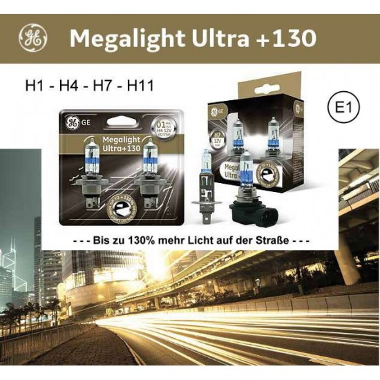 Auto sijalica 12v H1 Megalight + 130 General Electric /cena za par sijalica/ - General Electric sijalice (najpovoljnije cene www.silverauto.rs)