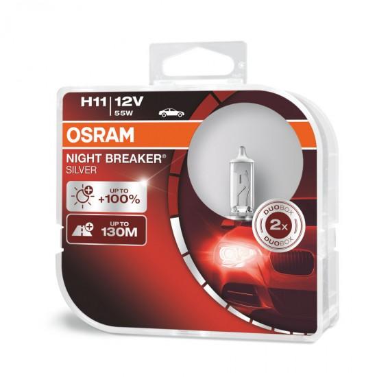 Auto sijalice Osram 12v H11 Night breaker Silver cena za dve sijalice - Osram sijalice (najpovoljnije cene www.silverauto.rs)
